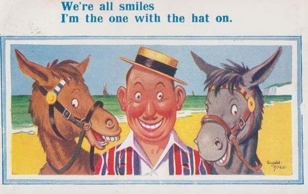Beach Donkey Rides Saucy Hat Striped Suit Smiling Adult Comic Humour Postcard