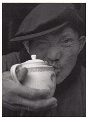 Chinese AOP Pensioner Elderly Man Slurping Tea From China Teapot Photo Postcard