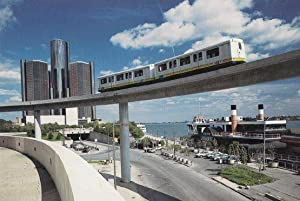 The Detroit People Mover Train Passing Greektown