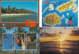 Fiji Sunset Map Children 4x Fijian Postcard