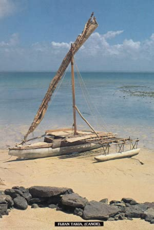 Fiji Fijian Takia Canoe Boat Postcard