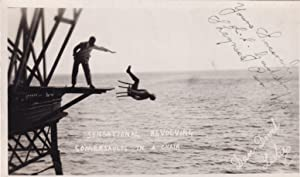 Death Jump Revolving Somersault Walking The Plank Murder Real Photo Old Postcard