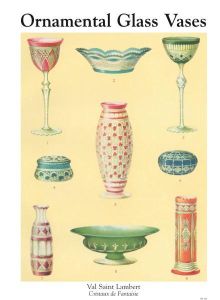 Ornamental Glass Vases Val Saint Lambert Cristaux De Fantaisie By