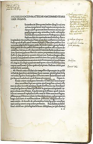 Noctes Atticae. (F.1, verso:) Auli Gelii Noctium: GELLIUS Aulus