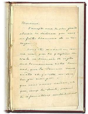 Lettera autografa firmata indirizzata a ''Monsieur''.: DUMAS Alexandre