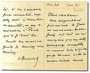 Lettera autografa firmata indirizzata a ''Chère Madame'',: DUMAS fils Alexandre