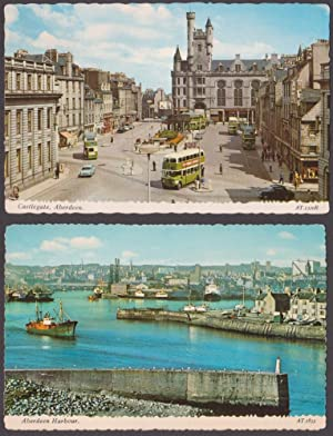 Lotto di 2 cartoline - Post Cards - Castlegate, Aberdeen + Aberdeen Harbour