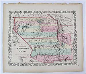 ORIGINAL Map of New Mexico and Utah: Colton, George W.