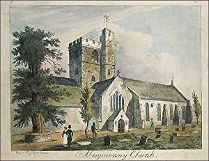 Abergavenny Church. Original hand coloured aquatint etching: Drawn and Engraved by J Cullum
