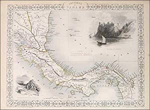Tallis Map of Isthmus of Panama Ca 1851: Tallis, John: