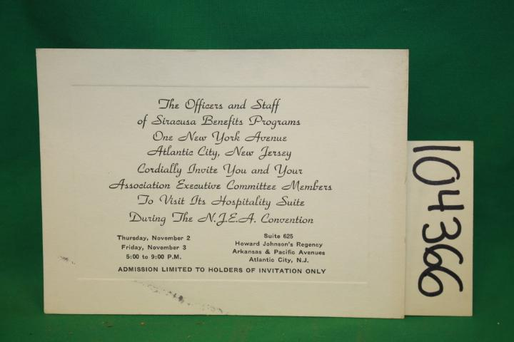 Siracusa Benefit N.J.E.A. Convention Invitation NEW JERSEY EDUCATION ATLANTIC CITY, NJ