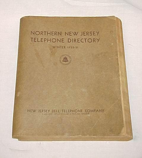 Northern New Jersey Telephone Directory WInter 1930 31 Arlington