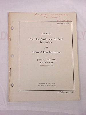 Handbook Operation, Service and Overhaul Instructions with: Chief Bureau Naval