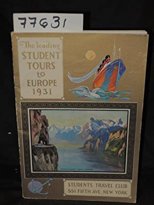 1931 Program of the Leading Students Tours to Europe: Students Travel Club