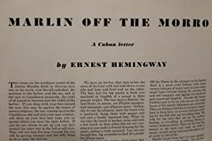 Marlin off the Morro : Cuban Letter ; Article on Autumn ESQUIRE: The Quarterly for Men: Hemingway, ...