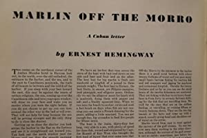 Marlin off the Morro : Cuban Letter August Afternoon: Story Article on Autumn ESQUIRE: The ...