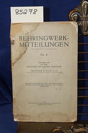 BEHRINGWERK-MITTEILUNGEN: RUGE, M.D. PROFESSOR R.