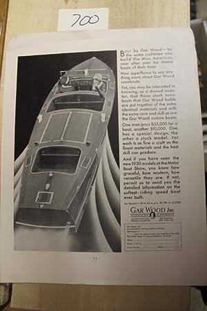 Gar Wood Motor Boat Ad, Runabout: Gar Wood