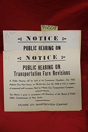 Atlantic City Transportation Company Public Hearing on Transportation Fare Revisions Notice: ...