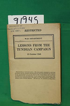 Lessons From the Tunisian Campaign: War Department