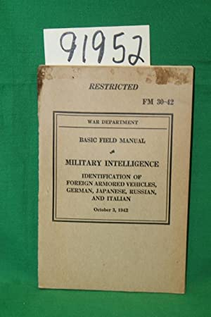 FM 30-42 Basic Field Manual Military Intelligence Identification of Foreign Armored Vehicles, ...