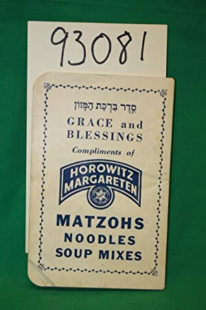 Grace and Blessings Matzohs Noodles Soup Mixes written in hebrew and english: Horowitz Margareten