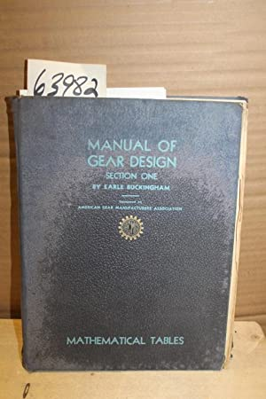 Manual of Gear Design Section 1 Mathematical: Buckingham, Earle