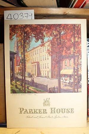 Parker House Menu School adn Tremont Streets, Boston, Mass: Parker House