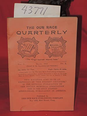 March 1912, Vol. 3, No. 2 The Our Race Quarterly,: Totten Memorial Ass. The