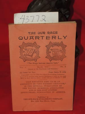3- 1912, Vol. 3, No. 2 The Our Race Quarterly,: Totten Memorial Association, The