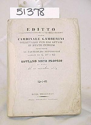 Editto Dell'Eminentissimo e Reverendissimo: Gamberini, Cardinale
