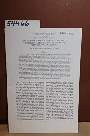 Evolutionary Relationships in Macrotus.: Greenbaum, Ira F., and Baker, Robert J.