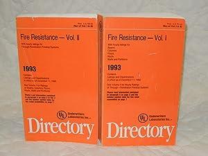 Fire Resistance 1993 Directory Volume 1 &: Underwriters Laboratories Inc