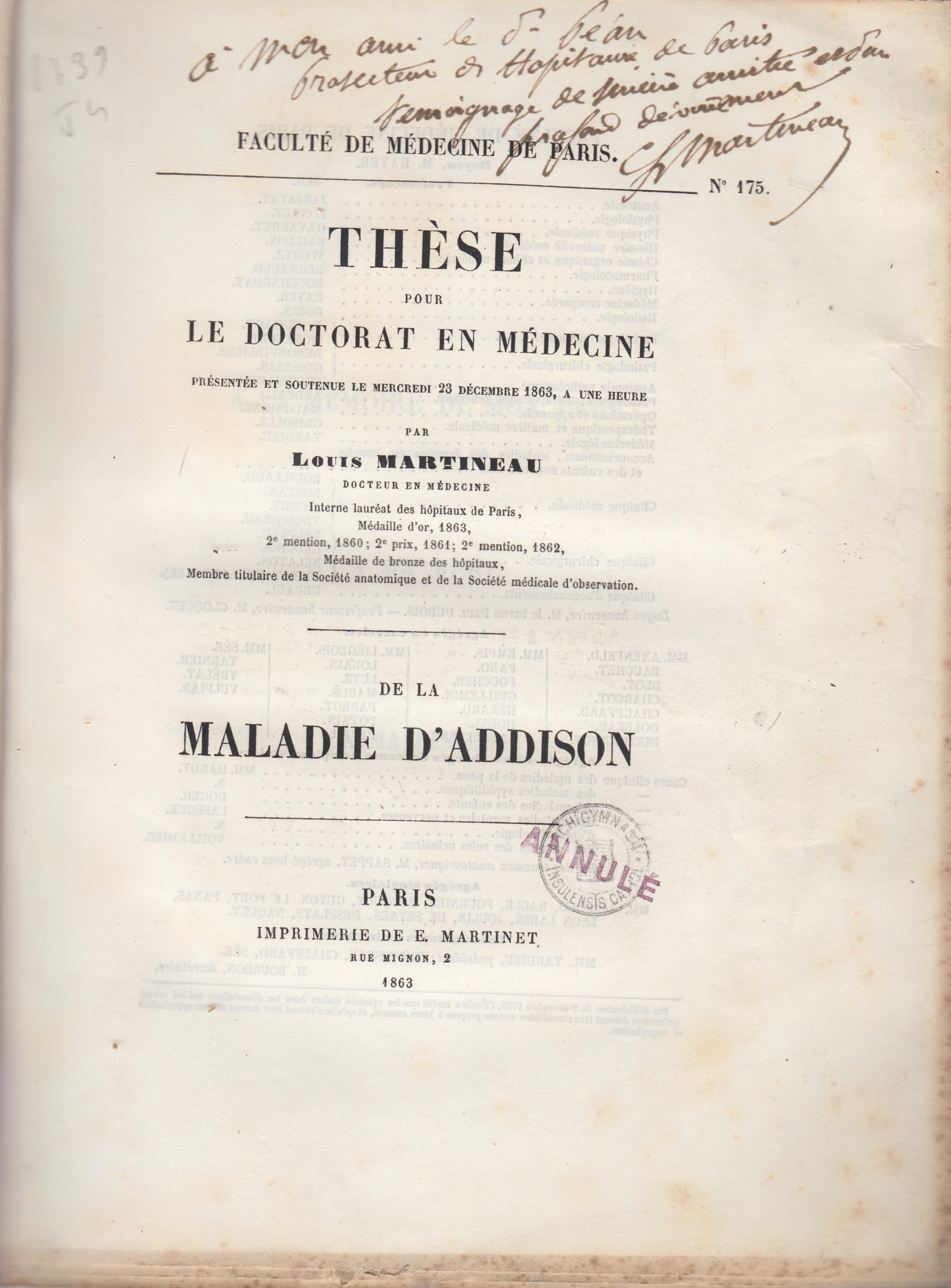De la maladie d'Addison (thèse de doctorat ...