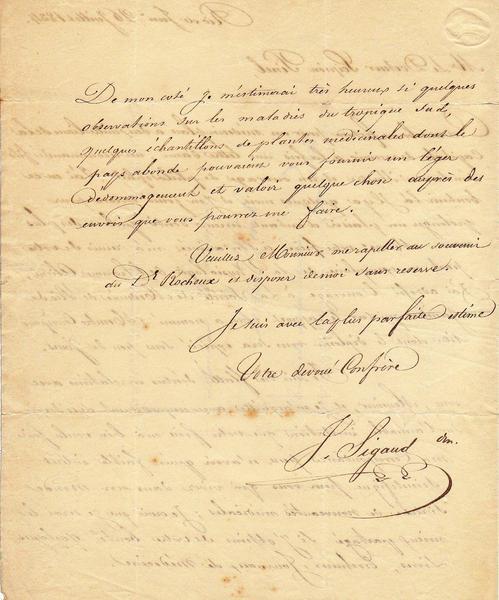 Une Très Importante Lettre Manuscrite De Xavier Sigaud à