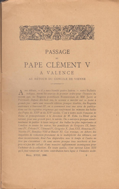 Passage du pape Clément V à Valence au retour du concile de Vienne - Ulysse Chevalier