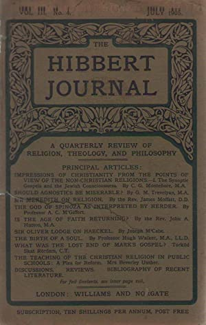 THE HIBBERT JOURNAL VOL. III. No 4. July 1905. A QUARTERLY REVIEW OF RELIGION, THEOLOGY, AND PHIL...