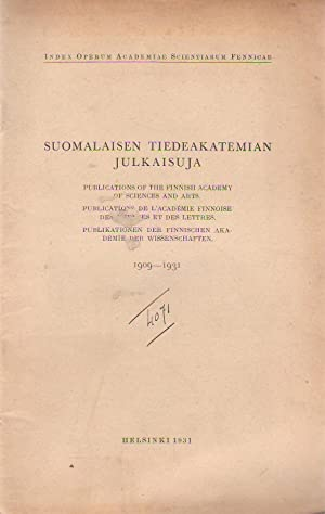 Suomalaisen tiedeakatemian julkaisuja, Publications of the Finnish Academy of sciences and art, P...
