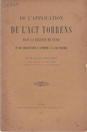 De l'Application de l'act Torrens dans la: Adrien Leclerc