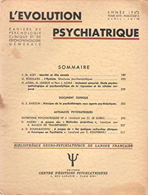 L'Evolution Psychiatrique tome () - fascicule (): Jean-Marc ALBY -