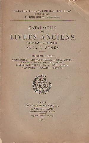 Catalogue des livres anciens composant la librairie