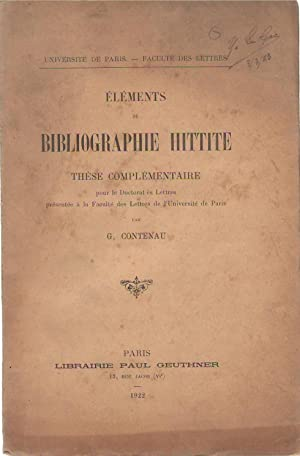 Éléments de bibliographie hittite. COPY INSCRIBED