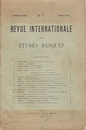 Revue Internationale des études basques N°1
