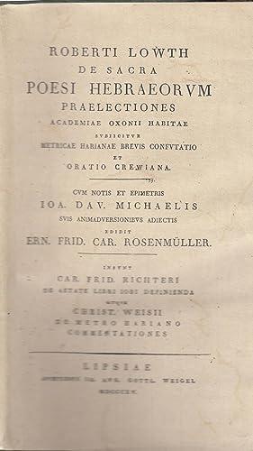 De Sacra Poesi Hebraeorum: Praelectiones Academicae Oxonii: Lowth, Robert