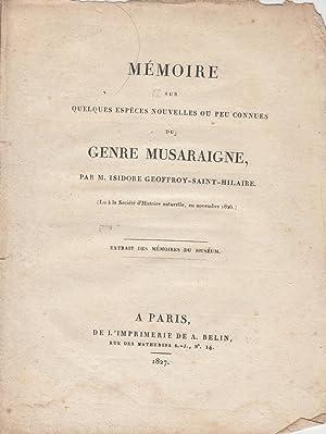 Mémoire sur quelques espèces nouvelles ou peu: Isidore Geoffroy Saint-Hilaire
