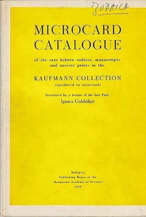 Microcard catalogue of the rare hebrew codices,: Ignacz Goldziher