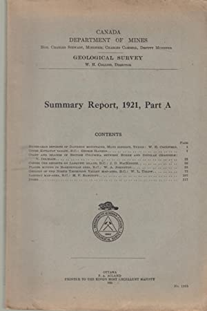 Summary Report, 1921, Part A - Contents: Cockfield, Hanson, Dolmage,