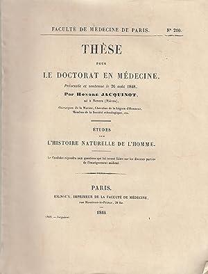 Thèse pour le Doctorat en Médecine, présentée: Honoré JACQUINOT