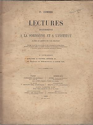 Lectures historiques à la Sorbonne et à: F. Combes