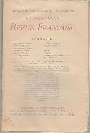La Nouvelle Revue Française - 7e année: Valéry Larbaud, Samuel